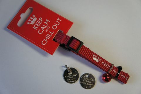 A CAT SAFETY COLLAR AND TAG -WITH  KEEP CALM AND CALL MY HUMANS TAG